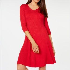 NY Collection V-Neck Sweater Dress